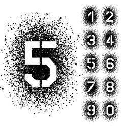 spray stencil angular font numbers vector image vector image