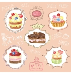 Watercolor sweet cakes label set vector
