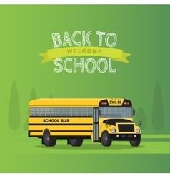 Yellow school bus isolated on green vector
