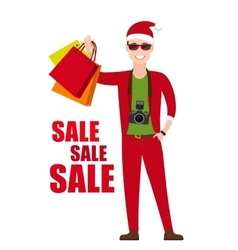 Young Man In Santa Costume with shopping bags in vector image