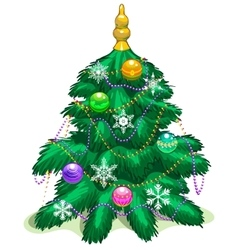 Green Christmas tree with balls and garlands vector image