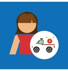 Character ambulance vehicle design vector