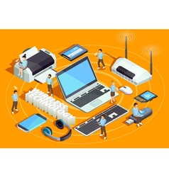 Wireless Technology Isometric Composition Poster vector image