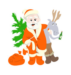 santa claus with deer vector image
