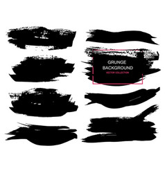 Large grunge elements set brush strokes banners vector