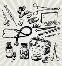 Medical stuff hand drawn vector