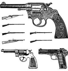 Pistol and gun set vector