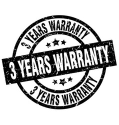 3 years warranty round grunge black stamp vector