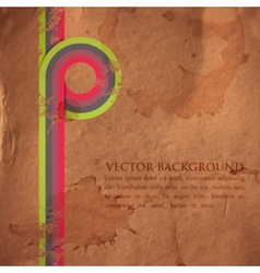 grunge retro background with colorful ribbons vector image