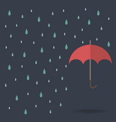 Raindrop background with red umbrella vector