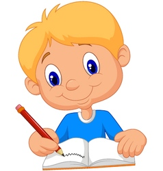 Happy boy writing in a book vector