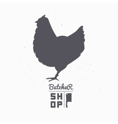 Farm bird silhouette chicken meat butcher shop vector