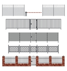 Metal fences and gates vector