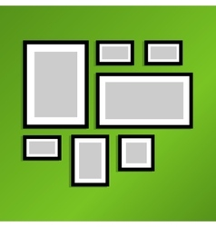 Photo frames on wall vintage picture vector