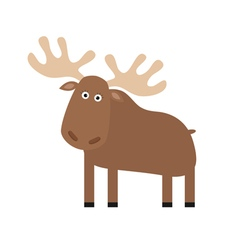 Moose elk cute cartoon funny character forest vector