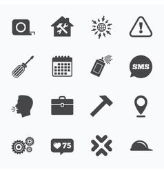 Repair construction icons helmet screwdriver vector