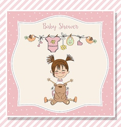 baby girl shower card with little girl and her vector image