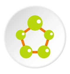 abstract green molecules icon circle vector image vector image