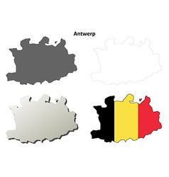 Antwerp outline map set - belgian version vector