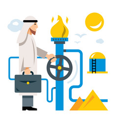 Arab gas industry flat style colorful vector