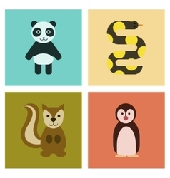 Assembly flat icons nature panda bear snake vector
