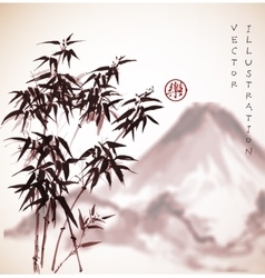 Bamboo trees and mountains hand drawn with ink vector