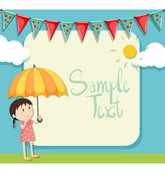 Border design with girl and umbrella vector image vector image