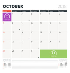 Calendar planner for october 2018 design template vector