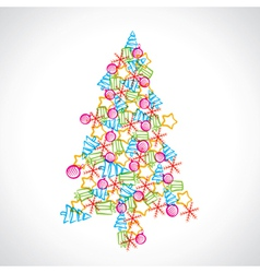 christmas tree design with ball star and tree vector image vector image