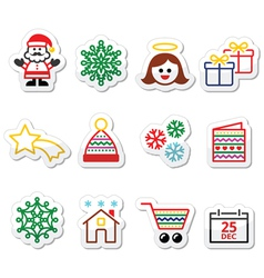 Christmas Xmas celebrate icons set vector image vector image