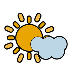 Cloud partially covering sun icon image vector