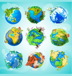 colorful earth planet collection vector image vector image