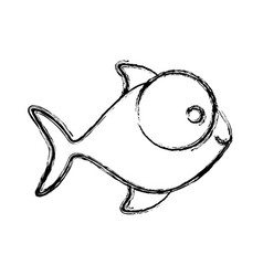 Contour fish with big eyes icon vector