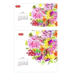 Floral calendar 2014 march vector image vector image