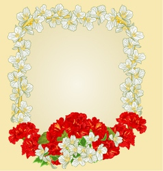 Frame with red hibiscus and jasmine greeting card vector