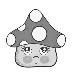 Grayscale kawaii fangus sad with cute cheeks and vector