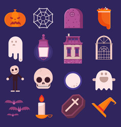 halloween icon set in flat design vector image vector image