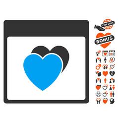 Hearts calendar page icon with valentine bonus vector
