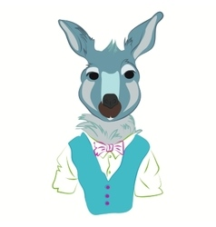 hipster kangaroo in cool fashion clothes vector image