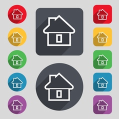 House icon sign A set of 12 colored buttons and a vector image