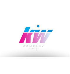 Kw k w alphabet letter combination pink blue bold vector