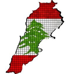 Lebanon map with flag inside vector image vector image