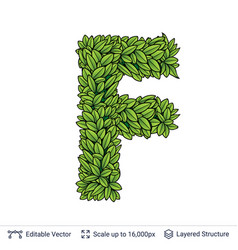 Letter f symbol of green leaves vector