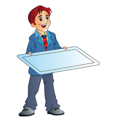 man holding an board vector image vector image