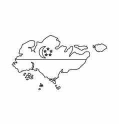 Map of Singapore with flag icon outline style vector image