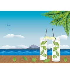 Mojito cocktail on the table2 vector image