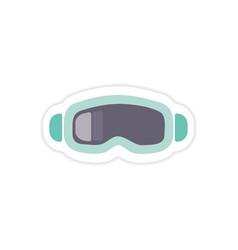 Paper sticker on white background ski goggles vector