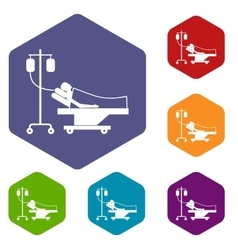 Patient in bed on a drip icons set vector image
