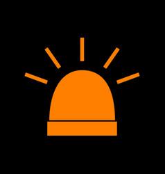 Police single sign orange icon on black vector