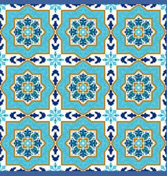Portuguese azulejo white and blue patterns vector